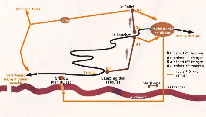 Plan d'accès via-ferrata de St Christophe