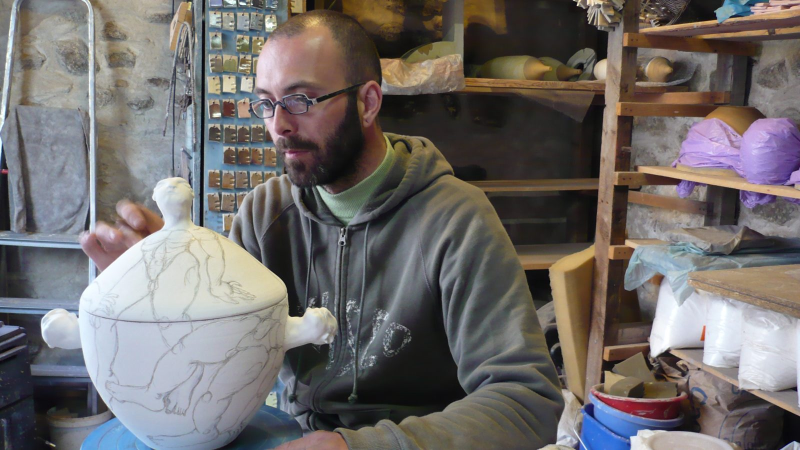Démonstration du garnissage – Atelier 45 ceramic