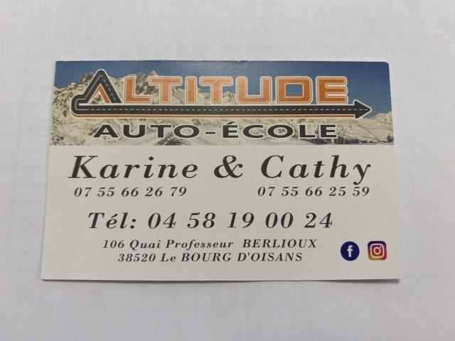 altitude auto ecole carte visite